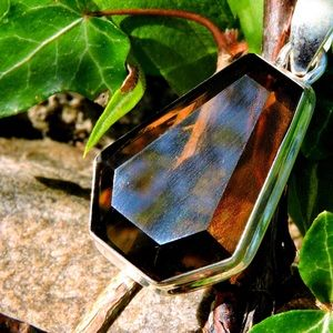 Smokey Quartz Geometric Gemstone Necklace Pendant